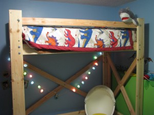 Loft bed with lights
